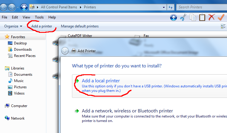 how to add a local printer