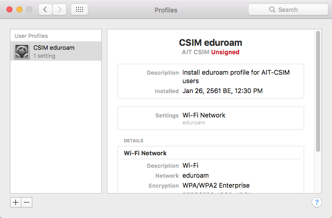 eduroam set-up